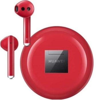 Слушалки Huawei FreeBuds 3, безжични, микрофон, Bluetooth 5.1, червени image