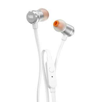 Слушалки JBL T290, микрофон, сребристи image