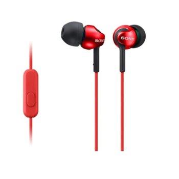 """Слушалки Sony MDR-EX110AP, червени, тип """"тапи"""", 3.5 mm jack, червени image"""
