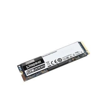Памет SSD 1TB Kingston KC2000, NVMe, M.2 2280, скорост на четене 3200MB/s, скорост на запис 2200MB/s  image