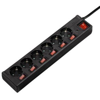 Разклонител HAMA 6-Way Power Strip individually, 6 гнезда, защита от пренапрежение и индиректни удари от мълния, 1.4m, черен image