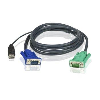 KVM кабел ATEN 2L-5203U, VGA(м) + USB A(м) към SPHD15/18(м), 3.0 м image