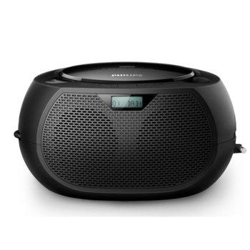 CD радиокасетофон Philips AZB200, 2.0, 2W, FM, 3.5mm жак, черен image