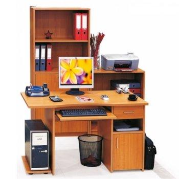 Компютърно бюро Cronos 120/59/72 ЧРШ, 25 мм дебелина на плота, стойка за компютър, чекмедже и шкаф, изтеглящ се плот за клавиатура, кафяво image