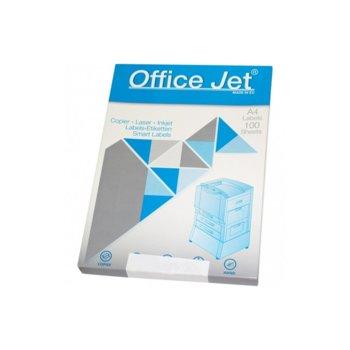 Етикети за принтери Office Jet, формат А4, размер 38х21.2mm, 65бр. на лист, опаковка от 100 листа, бели image