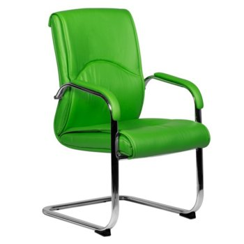 Посетителски стол Carmen 6040, еко кожа, подлакътници, зелен image