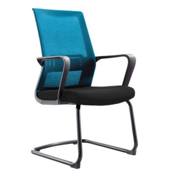 Посетителски стол RFG Smart M, дамаска и меш, черна седалка, тъмносиня облегалка, 2 броя в комплект image