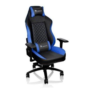 """Геймърски стол Ttesports GT Comfort, регулируеми подлакътници, до 160° регулация на облегалката, 3"""" Caster колела, до 150кг, черен-син image"""