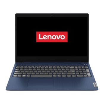 """Лаптоп Lenovo IdeaPad 3 15ADA05 (81W1002PRM)(син), двуядрен AMD Ryzen 3 3250U 2.6/3.5GHz, 15.6"""" (39.62 cm) Full HD TN Anti-Glare Display, (HDMI), 8GB DDR4, 256GB SSD, 2x USB 3.1, Free DOS image"""