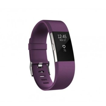 Смарт гривна Fitbit Charge 2 Large Size, Bluetooth, GPS, OLED Display, Mac OS X 10.6 (или по-нова), iPhone 4S (или по-нова), iPad 3 gen. (или по-нова), Android and Windows 10 devices, лилава image