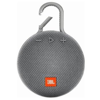 Тонколона JBL Clip 3, 1.0, 3W RMS, безжична, 3.5mm jack/Bluetooth, сива, микрофон, IPX7, до 10 часа работа image