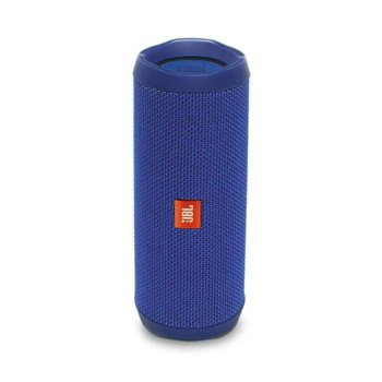 Тонколона JBL Flip 4, 2.0, 16 RMS, безжична, 3.5mm jack/Bluetooth, синя, микрофон, IPX7, до 12 часа работа image