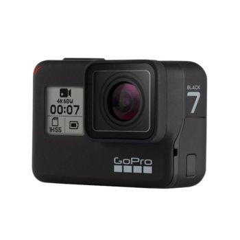 """Екшън камера GoPro HERO7 Black, камера за екстремен спорт, 4K@60fps, 2"""" (5.08 cm) мулти-тъч сензорен дисплей, microSD слот, USB (Type-С), Wi-Fi, Bluetooth, GPS image"""
