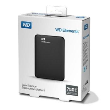 """Твърд диск 750GB WD Elements, външен, 2.5"""" (6.35 cm), USB3.0 image"""