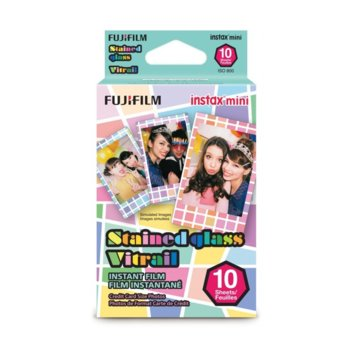 Фотохартия Fujifilm Stained Glass Instant Film, за Fujifilm Instax Mini, 800 ISO, 10 листа image