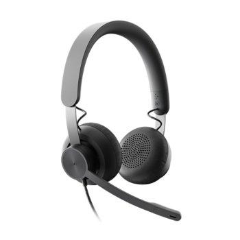Слушалки Logitech Zone Microsoft Teams, микрофон, USB, USB Type C, сиви image