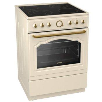 Готварска печка Gorenje EC62CLI, клас А, 65 л. обем на фурната, 4 нагревателни зони, 4 функции, Стъклокерамичен плот, DC+ охладждаща система, MultiAir, златист image