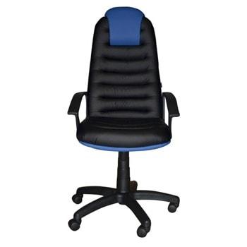 Директорски стол Tunis (TUNISPCOMBI D-5/B-13), до 120кг. макс. тегло, екокожа, пластмасова база, Tilt механизъм, пластмасови подлакътници, черно-син image