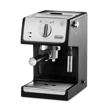 Ръчна еспресо машина Delonghi ECP 33.21, 1100 W, 15 bar налягане, 3 цедки, 2 отделни термостата, плоча за затопляне на чашата, черна  image