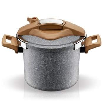 Тенджера под налягане Pyramis Novelta 014006901, 6 литра, 22 cm диаметър, алуминий, подобрено 4-слойно незалепващо покритие, 3 нива на готвене, с капак image