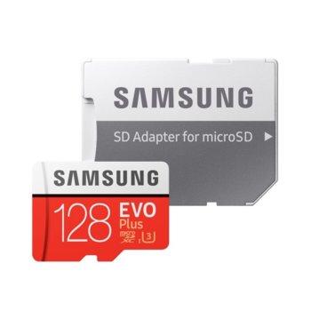 Карта памет 128GB microSDXC, Samsung EVO Plus + Adapter (MB-MC128GA/EU), Class10, UHS-I, скорост на четене 100MB/s, скорост на запис 90MB/s image
