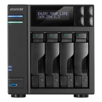 """Мрежови диск (NAS) Asustor AS7004T-I5, четириядрен Intel Core i5 3.0GHz, без твърд диск(4x SATA3/2.5""""/3.5""""/SSD), 8GB DDR3 RAM, 2x Lan1000, 1x HDMI, 3x USB 3.0, 2x USB 2.0, 2x eSATA image"""
