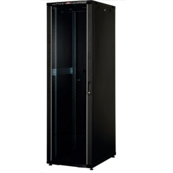 """Комуникационен шкаф Lande LN-CS42U6010-BL, 19"""", 42U, 600 x 1000 мм, перфорирана врата, LCD термометър, черен image"""