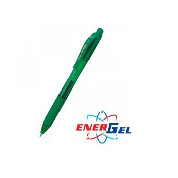 Автоматичен ролер Pentel Energel BL107, зелен цвят на писане, дебелина на линията 0.7 mm, гел, зелен, цената е за 1бр. (продава се в опаковка от 12бр.) image