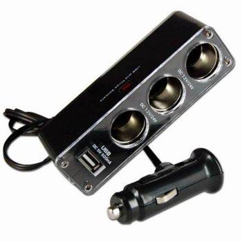 Зарядно устройство, от автомобилна запалка към 3x автомобилна запалка/USB A (ж), 12/24V, черно image