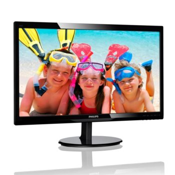 "Монитор Philips 246V5LDSB, 24"" (60.96 cm) TN панел, Full HD, 1 ms, 10 000 000:1, 250 cd/m2, HDMI, VGA, DVI image"