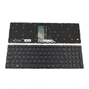 Клавиатура за лаптоп Lenovo, съвместима с модели Ideapad 700-15/700-15ISK, UK, без рамка, с подсветка, черна image
