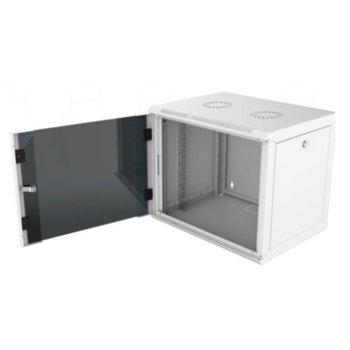 """Комуникационен шкаф Security Professionals MR.WTC12U45MN.02, 19"""", 12U, 565 x 450 x 580, стенен монтаж, товароносимост 80кг, отваряеми странични панели, стъклена врата, вентилационни отвори, сив image"""