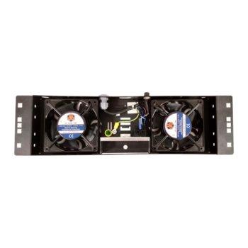 "Вентилаторен блок Mirsan MR.FAN2ON.01, за 19"" шкаф, 2 вентилатора, черен image"