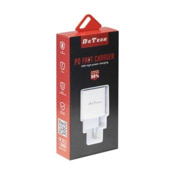 Зарядно устройство DE-30PD, от контакт към USB C(ж), 5V, 3.0A, кабел от USB C(м) към USB C(м, 1m, бял image