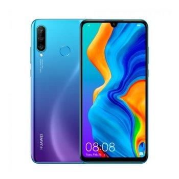 "Смартфон Huawei P30 Lite (син), поддържа 2 sim карти, 6.15"" (15.62 cm) FHD дисплей, осемядрен Kirin 710 (4xCortex-A73 2.2GHz+4xCortex-A53 1.7GHz), 4GB RAM, 128GB Flash памет(+microSD слот), 48MP+8MP+2MP & 24 Mpix camera, Android 9.0, 159 g image"