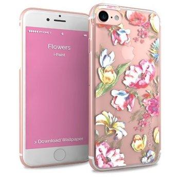 Калъф за Apple iPhone 8, термополиуретанов, iPaint Glamour Flower 161001, прозрачен image