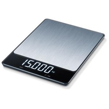 Цифров кухненски кантар Beurer KS 34 XL, капацитет 15 кг, LCD дисплей, с автоматично изключване, индикатор за претоварване, функция за задържане, сребрист image