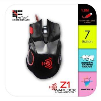 Мишка FanTech Z1, оптична (3200 dpi), жична, USB, черна, със седем бутона  image