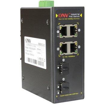 Суич ONV PoE IPS33064PF, 1000Mbps, 4x ports, 2x Gigabit SFP slots, PoE Ports image