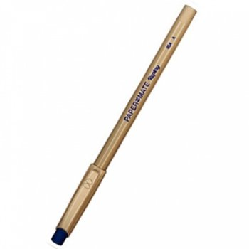 Химикалка с гума Papermate Replay, син цвят на писане, жълт image