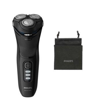 Самобръсначка Shaver 3200 S3233/52, за мокро или сухо бръснене, безжична, до 60 минути време на работа, PowerCut система ножчета, дисплей, черна image