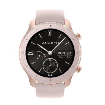 """Смарт часовник Xiaomi Amazfit GTR 42mm - Pink, 1.2"""" (3.04 cm) AMOLED Gorilla Glass 3, до 12 дни живот на батерията, IP68, 6-осен сензор за ускорение, розов image"""