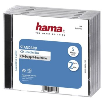 Кутия за CD/DVD HAMA Double Jewel Case black, 10бр image