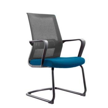 Посетителски стол RFG Smart M, дамаска и меш, със синя седалка и сива облегалка, 2 броя в комплект image