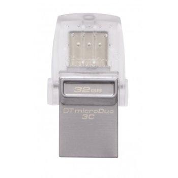 Памет 32GB USB Flash Drive, Kingston DataTraveler microDuo 3C, USB-A/USB-C 3.1, сребриста image