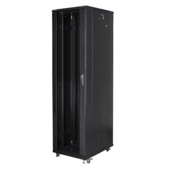 """Комуникационен шкаф Lanberg FF01-8837-12B, 19"""", 37U, 800 x 800 x 1826, стъклена врата, черен image"""