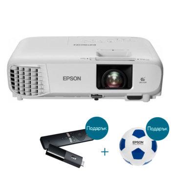 Проектор Epson EH-TW740 с подарък медиа плейър Xiaomi Mi TV Stick и футболна топка Epson, 3LCD, Full HD (1920 x 1080), 16 000:1, 3300lm, HDMI image