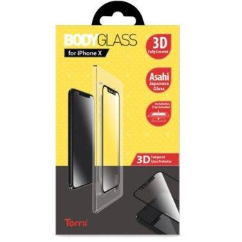 Протектор от закалено стъкло /Tempered Glass/ Тorrii BodyGlass IP8-BDG-04, Apple iPhone XS, iPhone X, черна рамка image