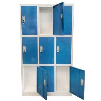 Метален шкаф RFG DZX-076/RAL5017, 9x шкафове, прахово боядисан, метален, заключване, вентилационен отвор, сив/син image