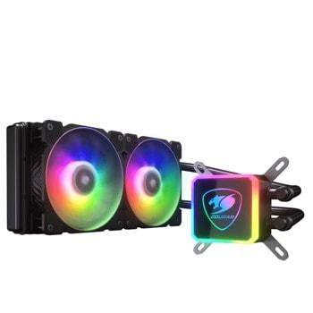 Охлаждане за процесор Cougar AQUA 240 ARGB (3MAQR240.0001), съвместимост със сокети LGA 1200/115X/1366/2011/2066/775 & AMD TR4/AM4/FM2/FM1/AM3+/AM3/AM2+/AM2 image